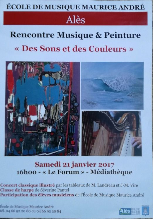 Alès en Cévennes Anduze École de musique Maurice André Alès Peinture Exposition Concert Harpe Marie Landreau Peintre Artiste